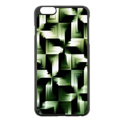 Green Black And White Abstract Background Of Squares Apple iPhone 6 Plus/6S Plus Black Enamel Case