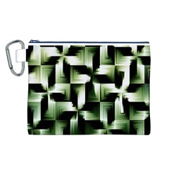 Green Black And White Abstract Background Of Squares Canvas Cosmetic Bag (L)