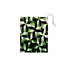 Green Black And White Abstract Background Of Squares Drawstring Pouches (xs)