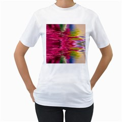 Abstract Pink Colorful Water Background Women s T Shirt (white) (two Sided)