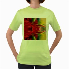 Abstract Pink Colorful Water Background Women s Green T-Shirt