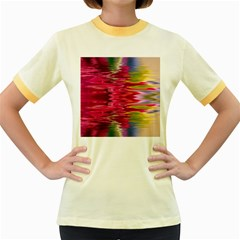 Abstract Pink Colorful Water Background Women s Fitted Ringer T Shirts
