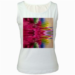 Abstract Pink Colorful Water Background Women s White Tank Top