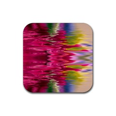 Abstract Pink Colorful Water Background Rubber Coaster (square)