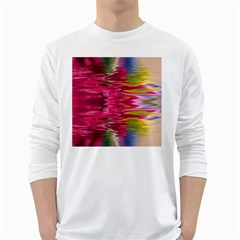 Abstract Pink Colorful Water Background White Long Sleeve T-Shirts