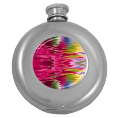 Abstract Pink Colorful Water Background Round Hip Flask (5 Oz)