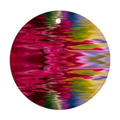 Abstract Pink Colorful Water Background Round Ornament (two Sides)