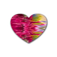 Abstract Pink Colorful Water Background Rubber Coaster (heart)