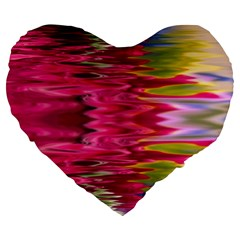 Abstract Pink Colorful Water Background Large 19  Premium Heart Shape Cushions