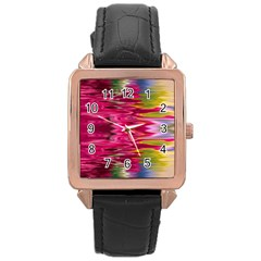 Abstract Pink Colorful Water Background Rose Gold Leather Watch