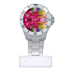 Abstract Pink Colorful Water Background Plastic Nurses Watch