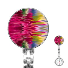 Abstract Pink Colorful Water Background Stainless Steel Nurses Watch