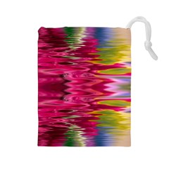 Abstract Pink Colorful Water Background Drawstring Pouches (Large)