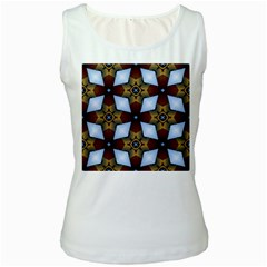 Abstract Seamless Background Pattern Women s White Tank Top