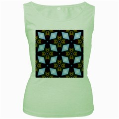 Abstract Seamless Background Pattern Women s Green Tank Top