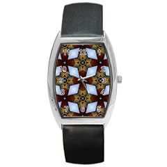 Abstract Seamless Background Pattern Barrel Style Metal Watch