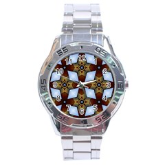 Abstract Seamless Background Pattern Stainless Steel Analogue Watch