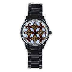 Abstract Seamless Background Pattern Stainless Steel Round Watch
