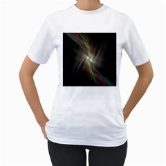Colorful Waves With Lights Abstract Multicolor Waves With Bright Lights Background Women s T Shirt (white) (two Sided)