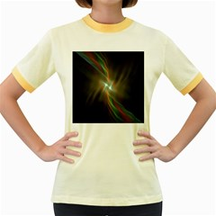 Colorful Waves With Lights Abstract Multicolor Waves With Bright Lights Background Women s Fitted Ringer T Shirts