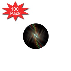Colorful Waves With Lights Abstract Multicolor Waves With Bright Lights Background 1  Mini Buttons (100 Pack)