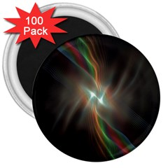 Colorful Waves With Lights Abstract Multicolor Waves With Bright Lights Background 3  Magnets (100 Pack)