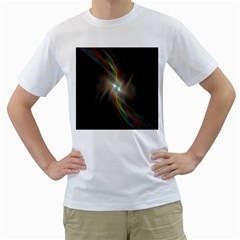 Colorful Waves With Lights Abstract Multicolor Waves With Bright Lights Background Men s T Shirt (white) (two Sided)