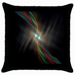 Colorful Waves With Lights Abstract Multicolor Waves With Bright Lights Background Throw Pillow Case (Black)