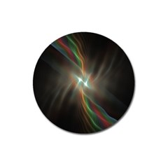 Colorful Waves With Lights Abstract Multicolor Waves With Bright Lights Background Magnet 3  (round)