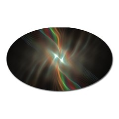 Colorful Waves With Lights Abstract Multicolor Waves With Bright Lights Background Oval Magnet