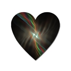 Colorful Waves With Lights Abstract Multicolor Waves With Bright Lights Background Heart Magnet