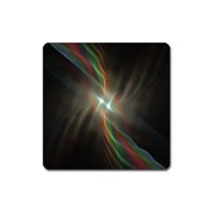 Colorful Waves With Lights Abstract Multicolor Waves With Bright Lights Background Square Magnet