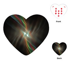 Colorful Waves With Lights Abstract Multicolor Waves With Bright Lights Background Playing Cards (Heart)