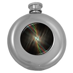 Colorful Waves With Lights Abstract Multicolor Waves With Bright Lights Background Round Hip Flask (5 oz)