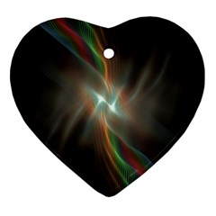 Colorful Waves With Lights Abstract Multicolor Waves With Bright Lights Background Heart Ornament (two Sides)