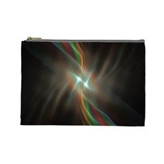 Colorful Waves With Lights Abstract Multicolor Waves With Bright Lights Background Cosmetic Bag (large)