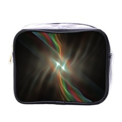 Colorful Waves With Lights Abstract Multicolor Waves With Bright Lights Background Mini Toiletries Bags