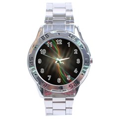 Colorful Waves With Lights Abstract Multicolor Waves With Bright Lights Background Stainless Steel Analogue Watch