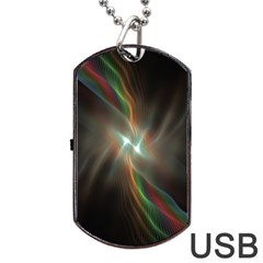 Colorful Waves With Lights Abstract Multicolor Waves With Bright Lights Background Dog Tag Usb Flash (one Side)