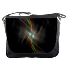 Colorful Waves With Lights Abstract Multicolor Waves With Bright Lights Background Messenger Bags