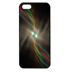 Colorful Waves With Lights Abstract Multicolor Waves With Bright Lights Background Apple iPhone 5 Seamless Case (Black)