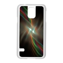 Colorful Waves With Lights Abstract Multicolor Waves With Bright Lights Background Samsung Galaxy S5 Case (White)