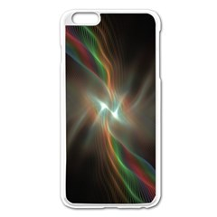 Colorful Waves With Lights Abstract Multicolor Waves With Bright Lights Background Apple iPhone 6 Plus/6S Plus Enamel White Case
