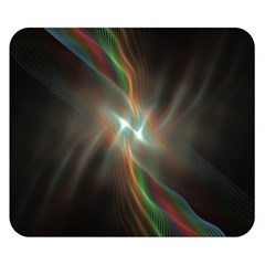 Colorful Waves With Lights Abstract Multicolor Waves With Bright Lights Background Double Sided Flano Blanket (small)