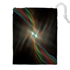 Colorful Waves With Lights Abstract Multicolor Waves With Bright Lights Background Drawstring Pouches (xxl)