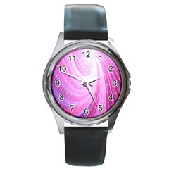 Vortexglow Abstract Background Wallpaper Round Metal Watch