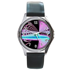 Blue And Pink Swirls And Circles Fractal Round Metal Watch