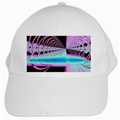 Blue And Pink Swirls And Circles Fractal White Cap
