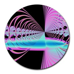Blue And Pink Swirls And Circles Fractal Round Mousepads