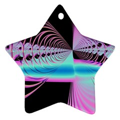 Blue And Pink Swirls And Circles Fractal Ornament (Star)